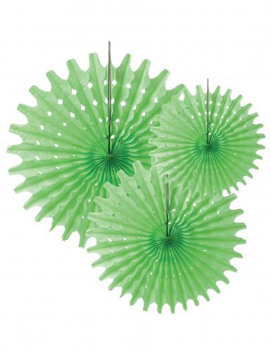3 Rosaces éventails en papier vert anis 20, 25 et 30 cm