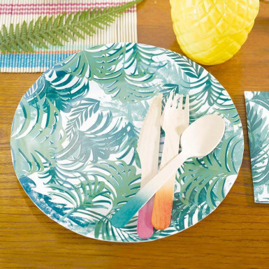 12 Assiettes en carton Tropical Jungle 23 cm -1