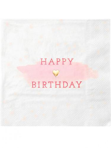 16 Serviettes en papier rose et or 33 x 33 cm