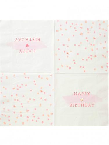 16 Serviettes en papier rose et or 33 x 33 cm-1