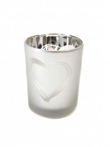 Photophore en verre givré argenté cœur 7 x 5,5 cm