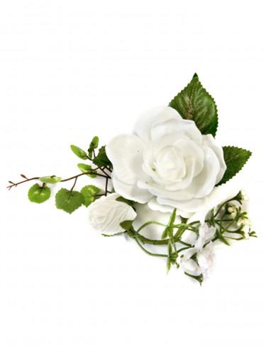 Petite composition fleurs artificielles blanches 20 x 10 x 7 cm