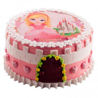 Disque en sucre pour gâteau Princesse 20 cm-1