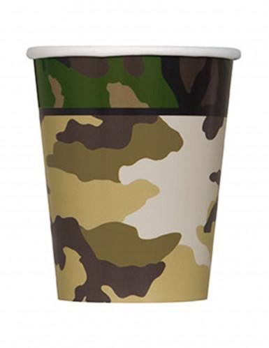 8 Gobelets en carton militaire 270ml