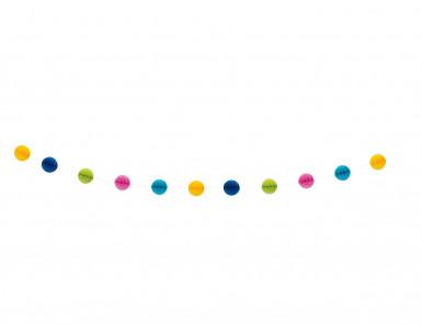 Guirlande boules alvéolées multicolores 213 cm-1
