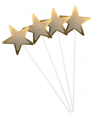 4 Baguettes magiques étoiles dorées en carton 36 cm