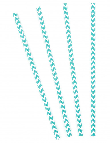 10 Pailles en carton chevrons bleues et blanches 20 cm