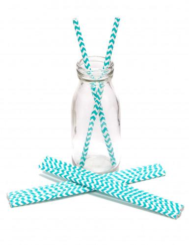 10 Pailles en carton chevrons bleues et blanches 20 cm-1