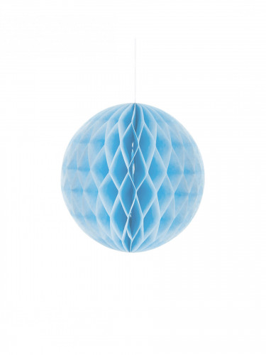 Petite boule en papier alvéolé bleu ciel 10 cm