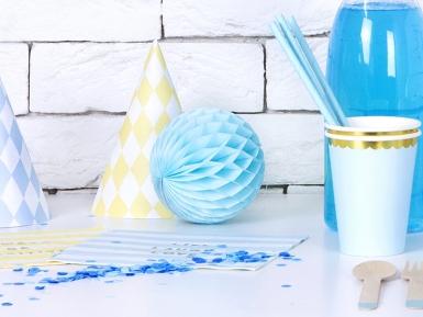 Petite boule en papier alvéolé bleu ciel 10 cm-1
