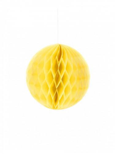 Petite boule en papier alvéolé jaune 10 cm