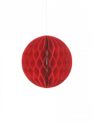 Petite boule en papier alvéolé rouge 10 cm