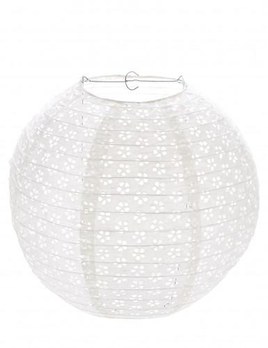 Lanterne dentelle vintage blanche 35 cm
