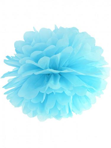 Pompon à suspendre en papier bleu ciel 35 cm