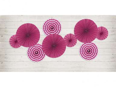 3 Rosaces en papier fuchsia 23, 32 et 40 cm-1