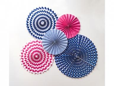 3 Rosaces en papier bleu marine 23, 32 et 40 cm-2