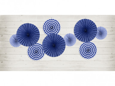 3 Rosaces en papier bleu marine 23, 32 et 40 cm-1