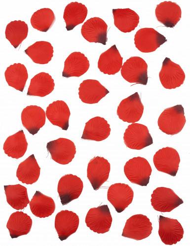 100 Pétales de rose en tissu rouge sombre 5 x 5 cm-1