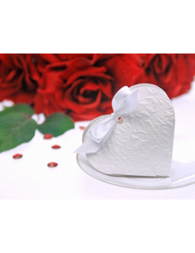 10 Boites à dragées en carton cœur blanc 10 x 9 x 3 cm-1