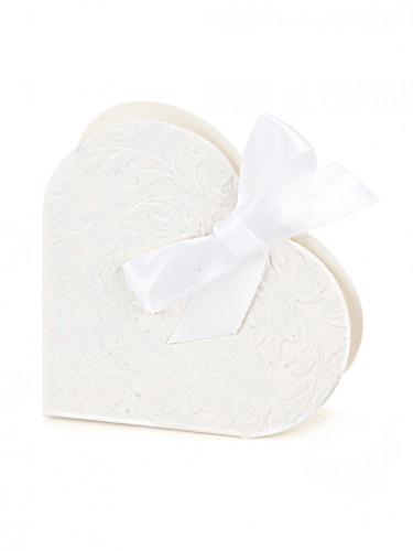 10 Boites à dragées en carton cœur blanc 10 x 9 x 3 cm