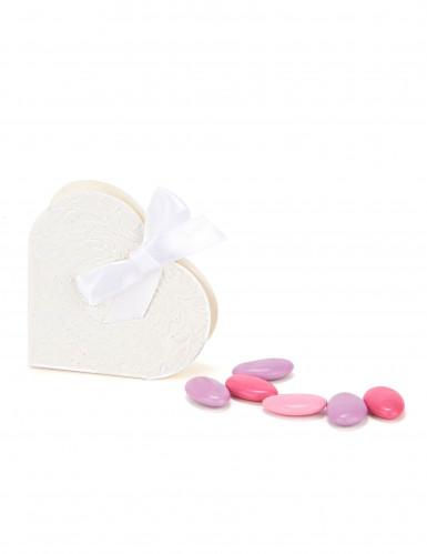 10 Boites à dragées en carton cœur blanc 10 x 9 x 3 cm-2