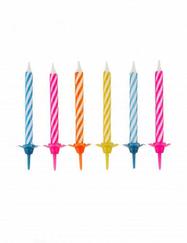 10 Bougies anniversaire colorés avec bobèches 6 cm
