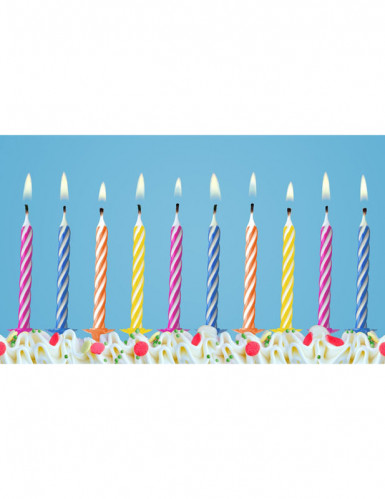 10 Bougies anniversaire colorés avec bobèches 6 cm-1