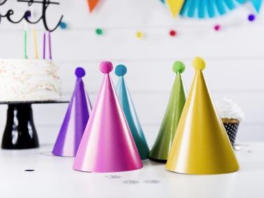 6 Chapeaux de fête colorés avec pompons-1