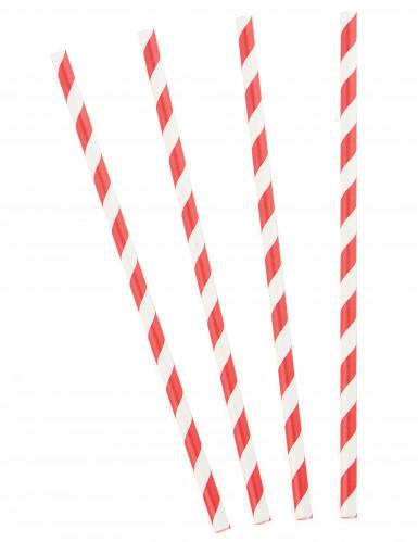 10 Pailles en carton rayées rouges 19,5 cm