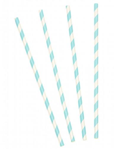 10 Pailles en carton rayées bleu pastel 19,5 cm