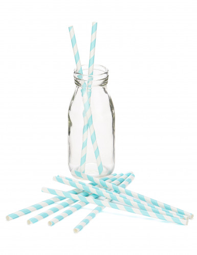 10 Pailles en carton rayées bleu pastel 19,5 cm-1
