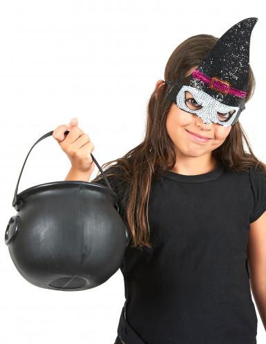 Demi-masque à sequins sorcière enfant Halloween