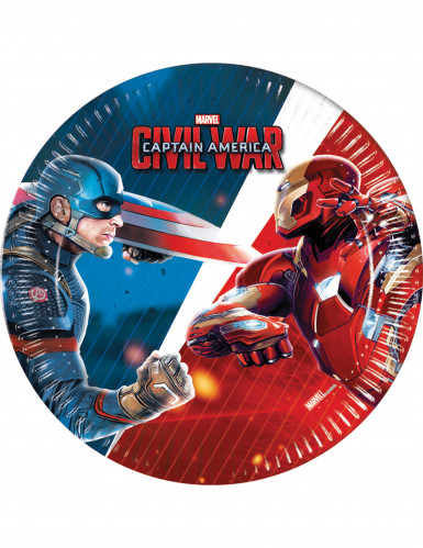 8 Petites Assiettes en carton Captain America Civil War™