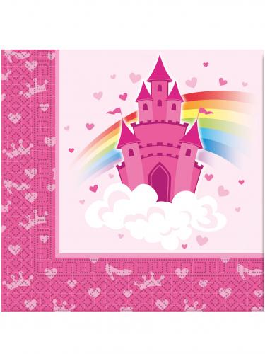 20 Serviettes en papier Château de princesse 33 x 33 cm