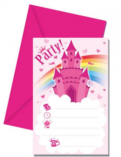 6 Cartes d'invitation + enveloppes Château de princesse