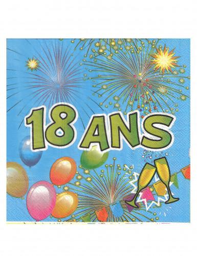 20 Serviettes en papier 18 ans Anniversaire Fiesta 33 cm-1