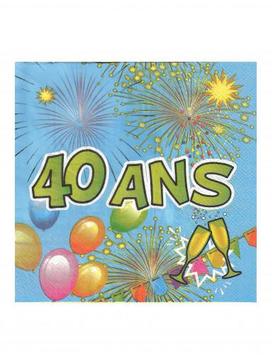 20 Serviettes en papier 40 ans Anniversaire Fiesta 33 cm-1