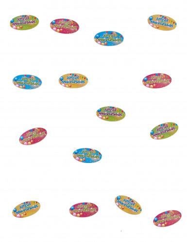 80 Confettis de table Joyeux Anniversaire Fiesta 4 x 2 cm-1