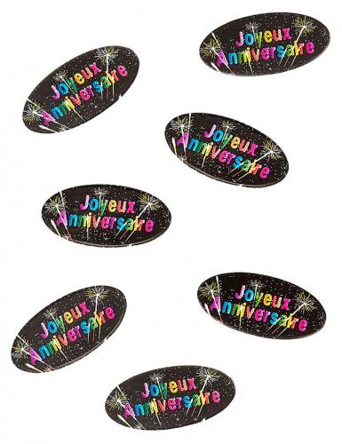 80 Confettis de table en papier anniversaire feux d'artifice 4 x 2 cm