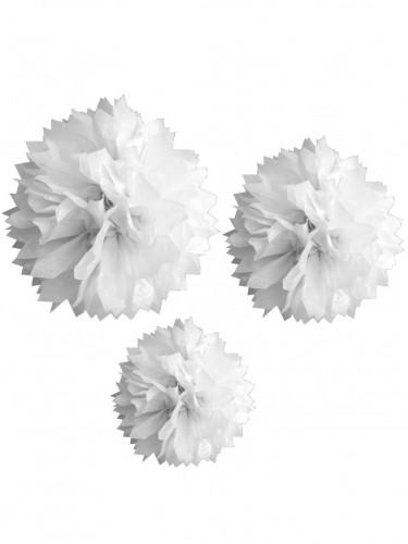 3 pompons en papier blanc 20, 30 et 40 cm