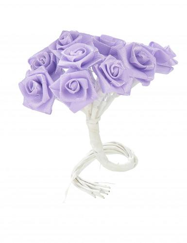 48 Mini roses satin parme 1 x 8 cm-1