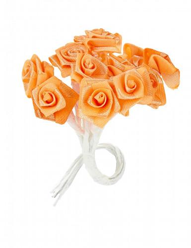 72 Mini roses satin pêche 1 x 8 cm-1