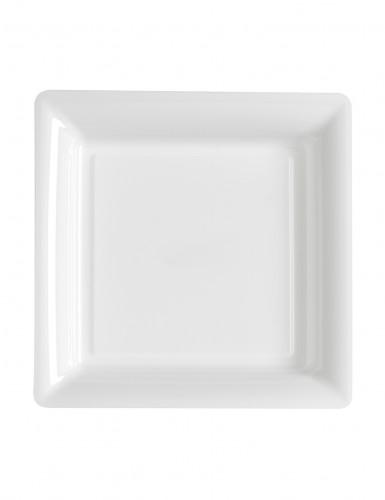 12 Petites assiettes carrées plastique blanc 18 cm