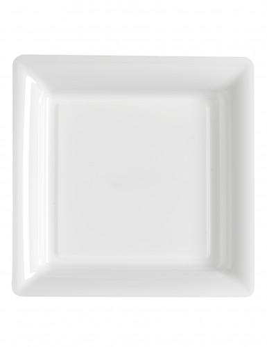 12 Assiettes carrées en plastique blanc 23.5 cm