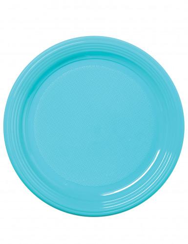 50 assiettes à dessert en plastique bleu ciel 17 cm