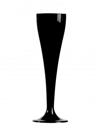 8 Flûtes à champagne plastique noir 10 cl