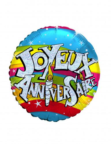 Ballon aluminium holographique Joyeux anniversaire