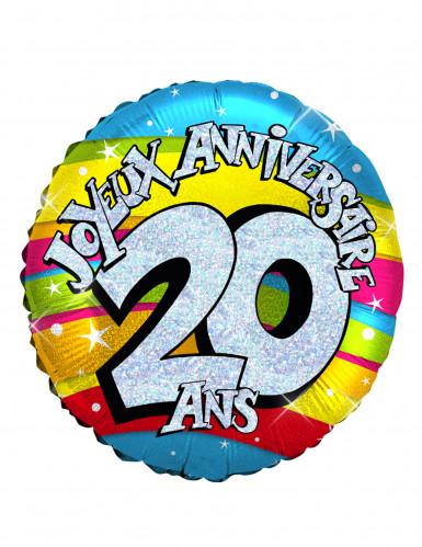 Ballon aluminium holographique 20 ans 46 cm