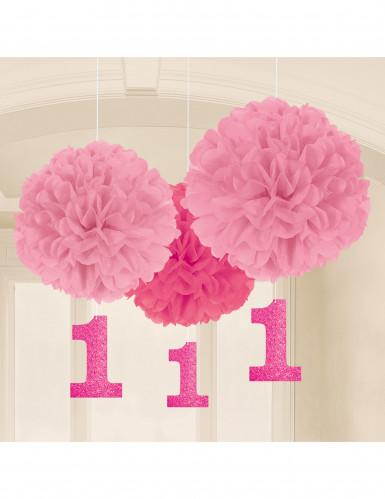 3 Suspensions 1 an rose 40.5 cm