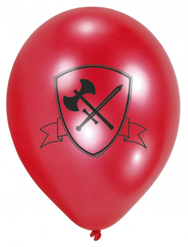 6 Ballons latex Chevalier noir 23 cm-1